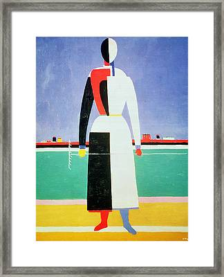 Woman With A Rake Framed Print by Kazimir Severinovich Malevich