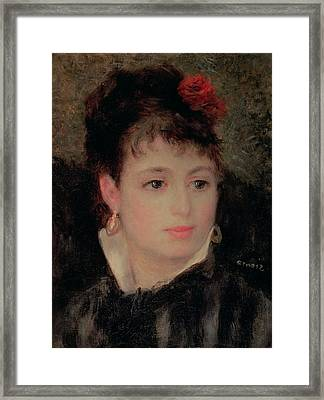 Woman With A Rose In Her Hair Framed Print by Renoir