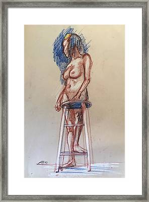 Woman With A Stool Framed Print by Alejandro Lopez-Tasso