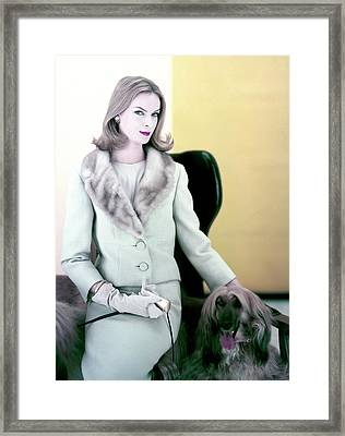 Woman With Afghan Dog Framed Print by Henry Clarke