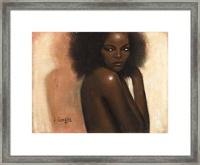 Woman With Afro Framed Print by L Cooper