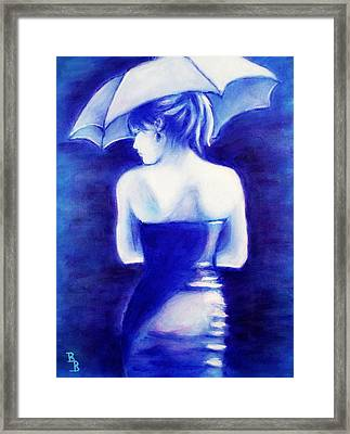 Framed Print featuring the painting Woman With An Umbrella Blue by Bob Baker
