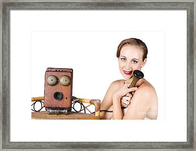Woman With Antique Telephone Framed Print by Jorgo Photography - Wall Art Gallery