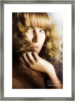 Woman With Beautiful Wavy Hair Framed Print