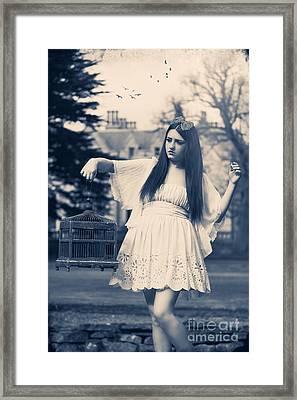 Woman With Birdcage Framed Print by Amanda Elwell
