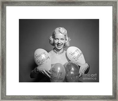 Woman With Birthday Balloons, C.1950s Framed Print