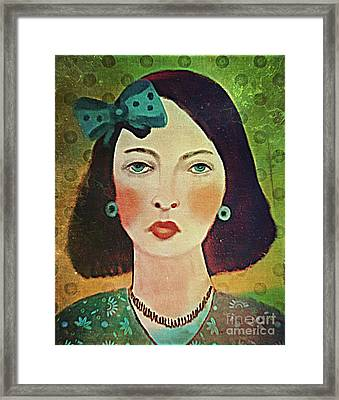 Framed Print featuring the digital art Woman With Blue Hair Bow by Alexis Rotella