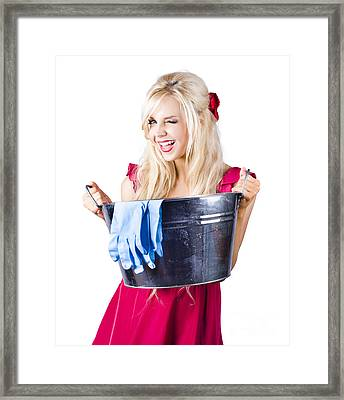 Woman With Bucket And Rubber Gloves Framed Print by Jorgo Photography - Wall Art Gallery