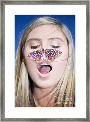 Woman With Butterfly Framed Print