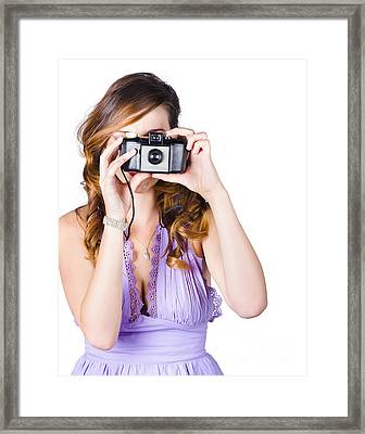 Woman With Camera On White Background Framed Print