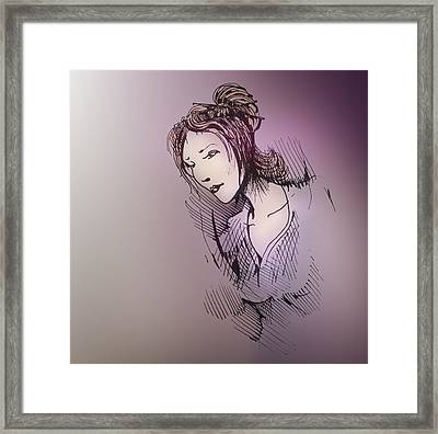 Framed Print featuring the drawing Woman With Chopsticks In Her Hair by Keith A Link