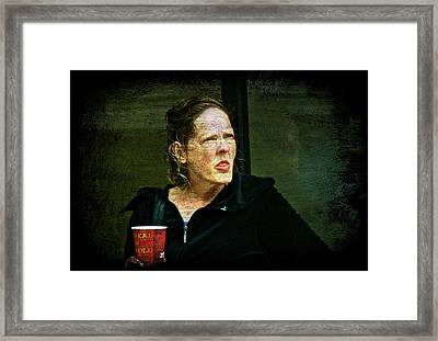 Woman With Cup Framed Print