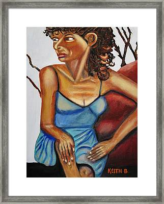 Woman With Curly Hair Framed Print by Keith Bagg