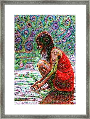Woman With Dog Head Deep Dream Wild And Crazy Framed Print