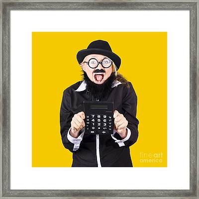 Woman With Electronic Calculator Framed Print by Jorgo Photography - Wall Art Gallery