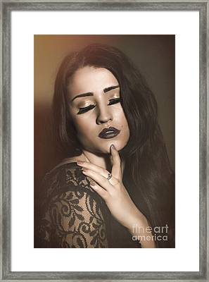 Woman With Eyes Closed Framed Print by Amanda Elwell