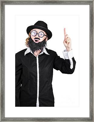 Woman With Fake Beard And Mustache Pointing Finger Up Framed Print by Jorgo Photography - Wall Art Gallery