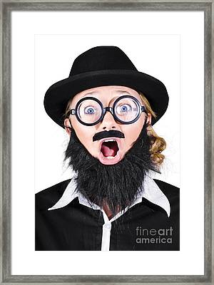 Woman With Fake Beard And Mustache Screaming Framed Print by Jorgo Photography - Wall Art Gallery