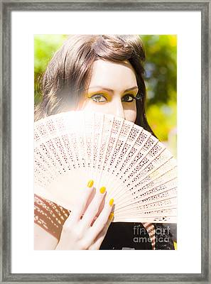 Woman With Fan Framed Print by Jorgo Photography - Wall Art Gallery