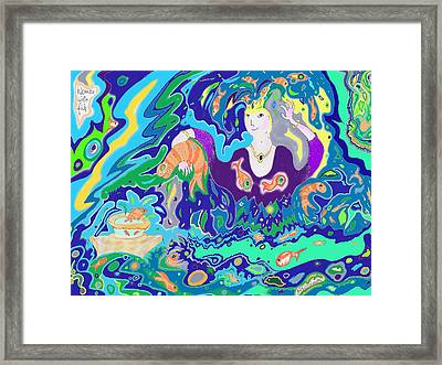 Framed Print featuring the digital art Woman With Fish by Julia Woodman