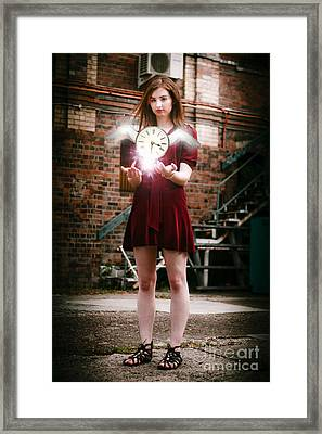Woman With Flying Clock Framed Print by Jorgo Photography - Wall Art Gallery