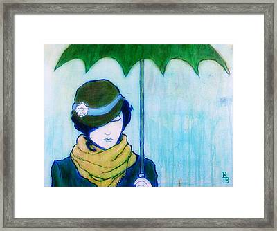 Framed Print featuring the painting Woman With Green Umbrella by Bob Baker