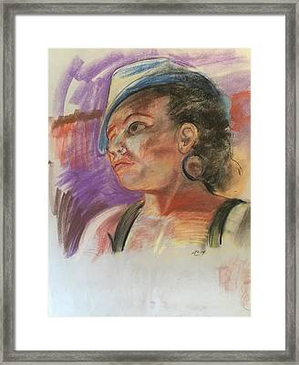 Woman With Hat Framed Print by Alejandro Lopez-Tasso