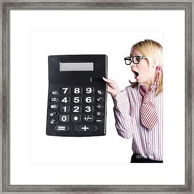 Woman With Large Calculator Framed Print by Jorgo Photography - Wall Art Gallery