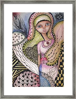Framed Print featuring the mixed media Woman With Large Eyes by Prerna Poojara