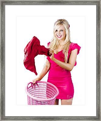 Woman With Laundry Basket Framed Print