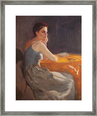 Sold Woman With Lily Framed Print by Irena  Jablonski