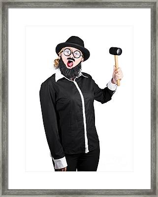 Woman With Male Costume Holding Mallet Framed Print by Jorgo Photography - Wall Art Gallery