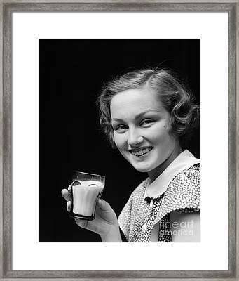 Woman With Milk, C.1930s Framed Print