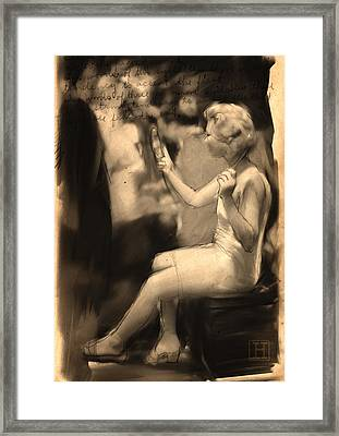 Woman With Mirror Framed Print