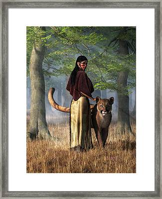 Woman With Mountain Lion Framed Print by Daniel Eskridge