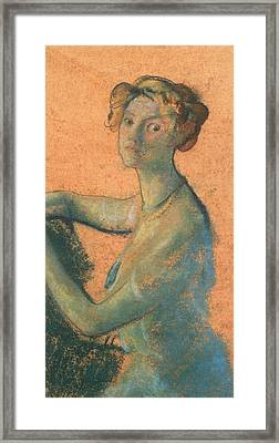 Woman With Orange Background Framed Print by Arthur Bowen Davies