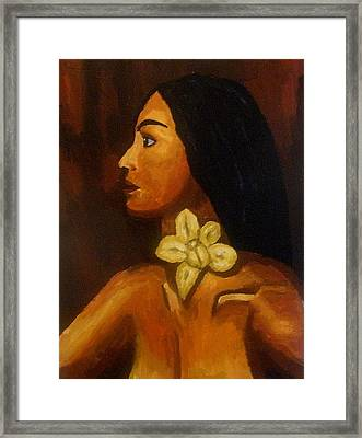 Woman With Orchid Framed Print by Mats Eriksson