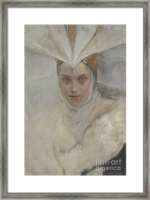 Woman With Osprey Headdress And White Fur Collar, 1897 Framed Print