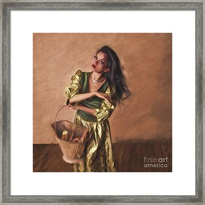 Woman With Pail  ... Framed Print by Chuck Caramella