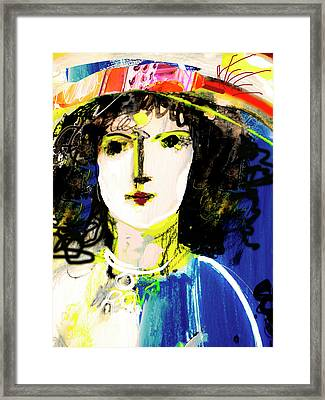 Woman With Party Hat Framed Print by Amara Dacer