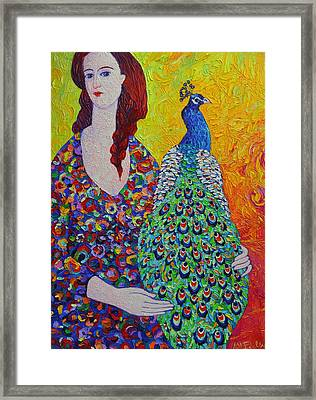 Woman With Peacock Contemporary Portrait Impressionist Palette Knife Oil Painting Ana Maria Edulescu Framed Print by Ana Maria Edulescu