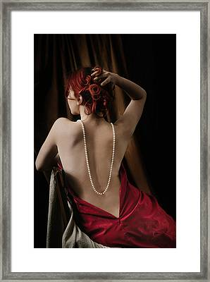 Woman With Pearls Framed Print