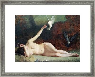 Woman With Pigeons Framed Print by Ernst Philippe Zacharie
