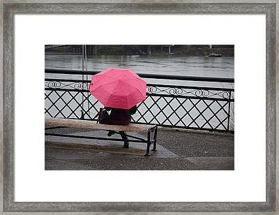 Woman With Pink Umbrella. Framed Print