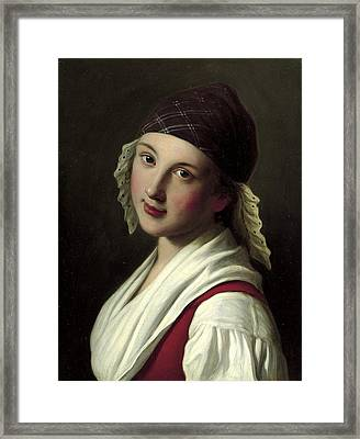 Woman With Plaid Scarf With Lace Trim Framed Print