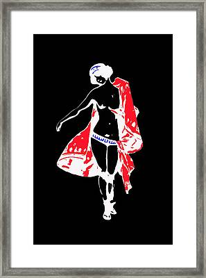 Woman With Red Cape - And Not Much Else Framed Print by James Hill