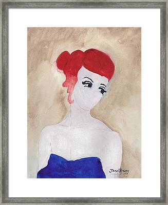Woman With Red Hair And Blue Dress Framed Print