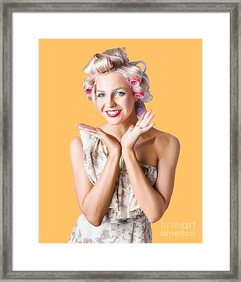 Woman With Rollers In Hair Framed Print by Jorgo Photography - Wall Art Gallery