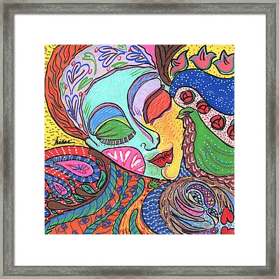 Woman With Scarf Framed Print by Sharon Nishihara