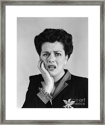 Woman With Shocked Expression, C.1940s Framed Print by H. Armstrong Roberts/ClassicStock